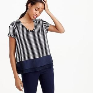 J. Crew Pleated Chiffon-Hem Striped T-Shirt